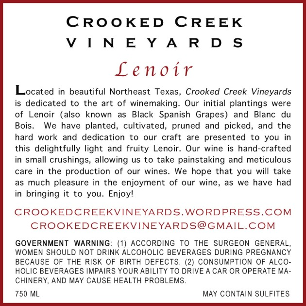Crooked Creek Vineyards' Premier Cuveé 2011 | Back Label