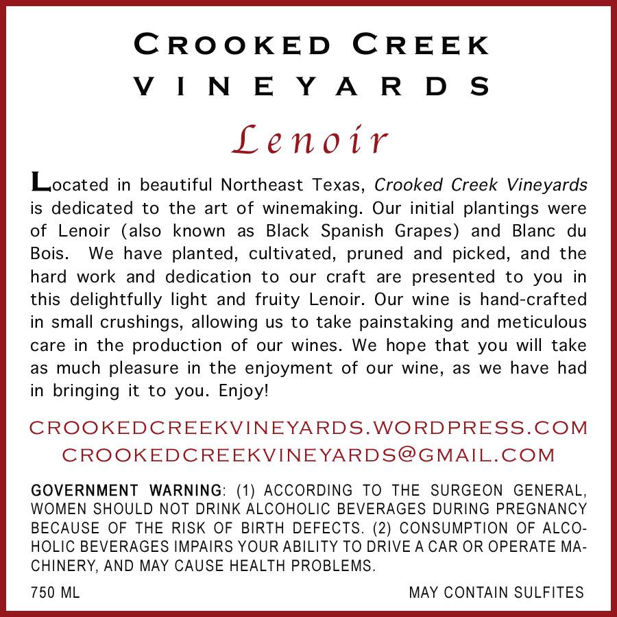 Crooked Creek Vineyards' Premier Cuveé 2011 | Back Label